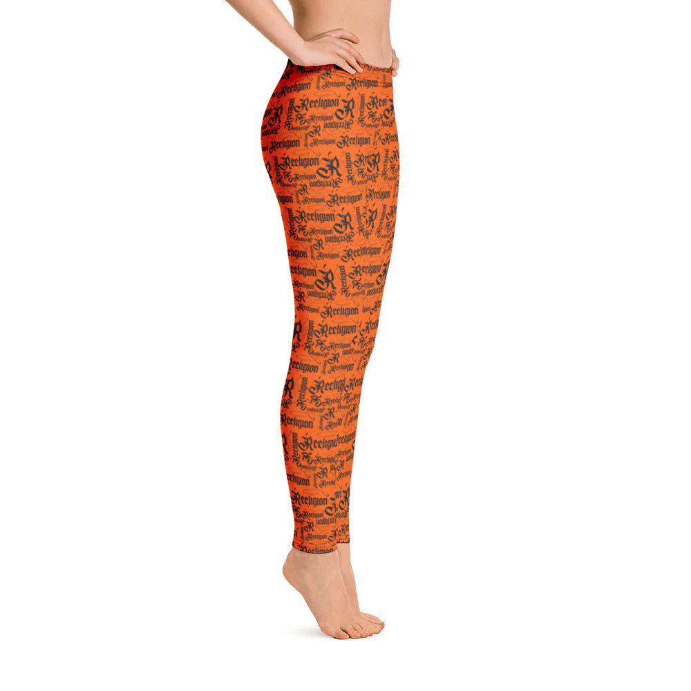 Tiger Orange Black Pattern Fishing Leggings