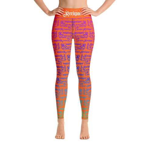 Tiger Orange Rainbow Pattern Hi Rise Leggings