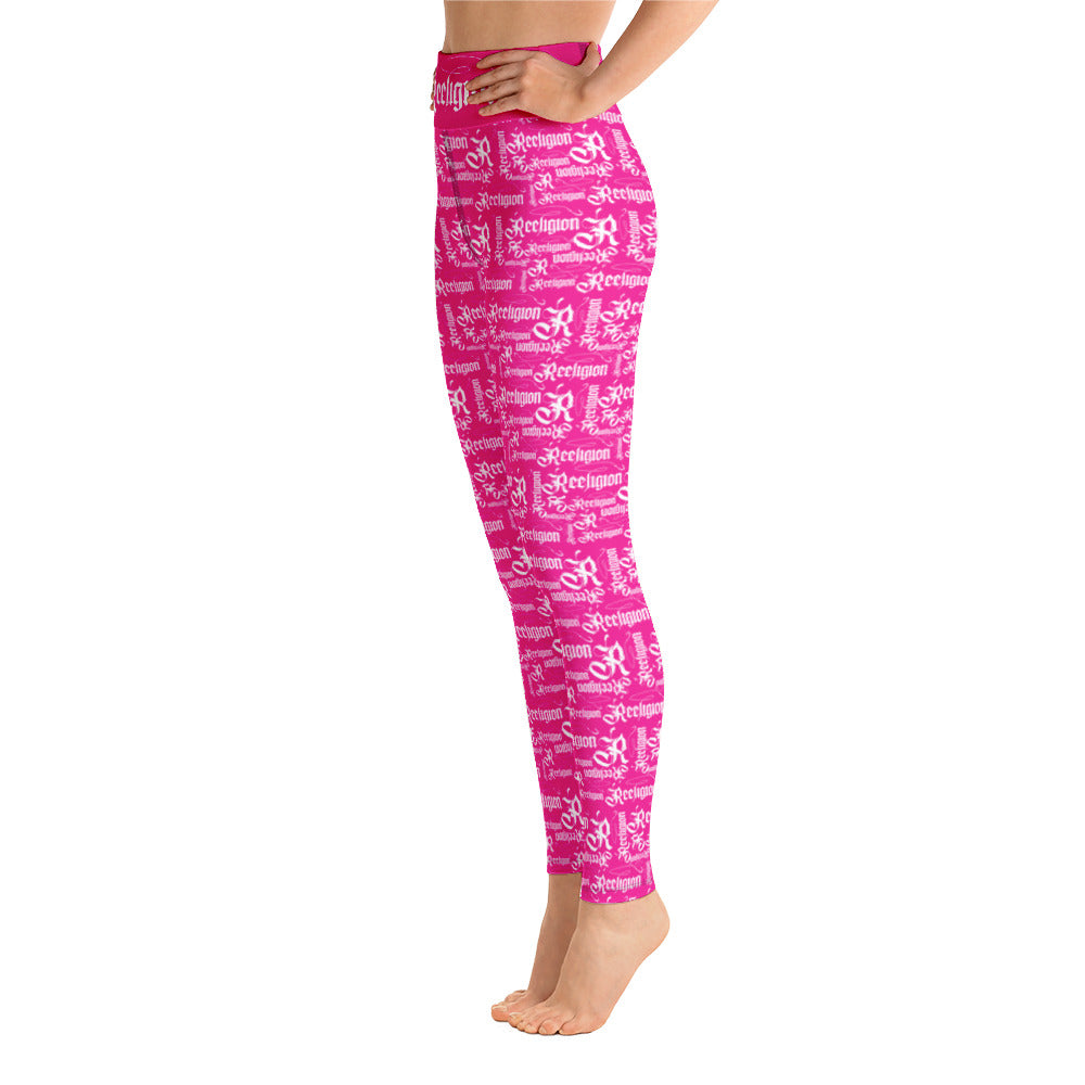 Sassy Pink White Pattern Hi Rise Leggings