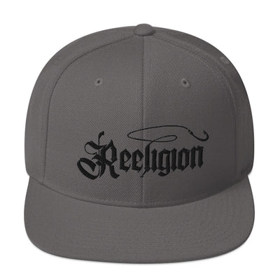 Black Embroidered Fishing Snap Back Hat - Reeligion