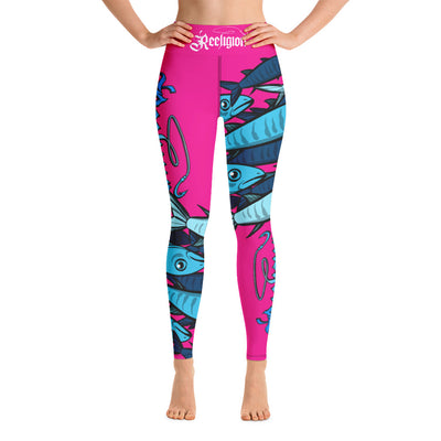 "Sassy Pink ""Schools In"" Hi Rise Fishing Leggings - Reeligion"
