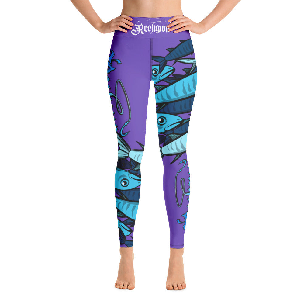"Purple ""Schools In"" Hi Rise Fishing Leggings - Reeligion"