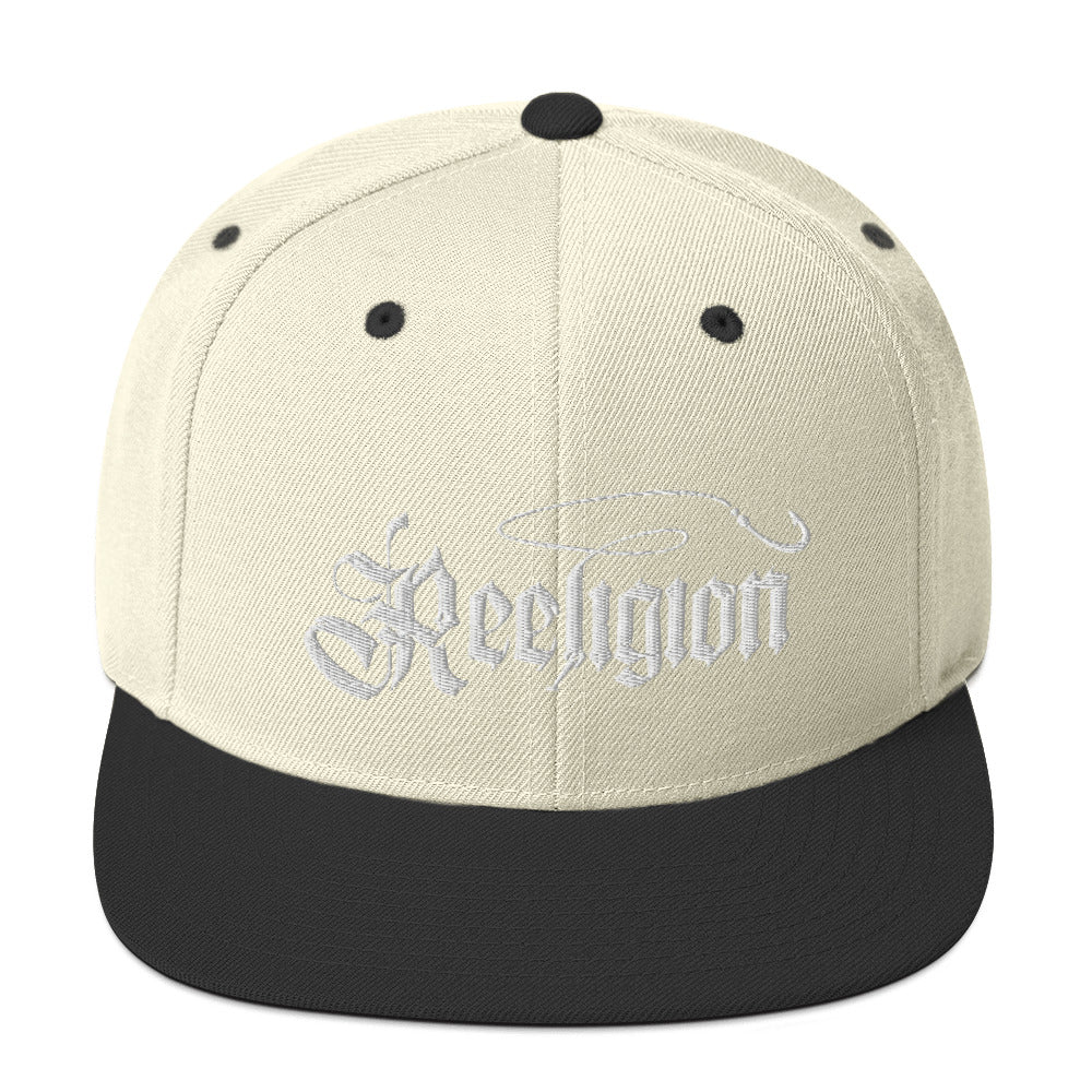 White Embroidered Fishing Snapback Hat
