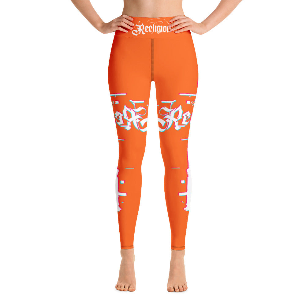 Tiger Orange 3D Fishing Pole Hi Rise Leggings