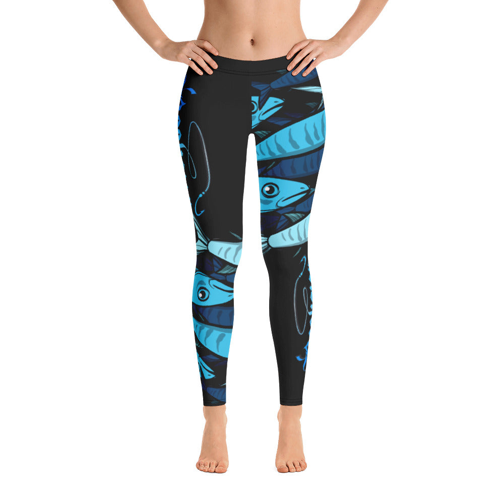 "Black Licorice ""Schools In"" Women's Fishing Leggings"