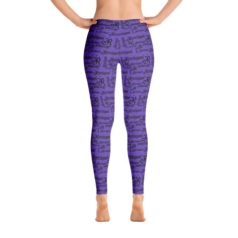 Royal Purple Black Pattern Fishing Leggings