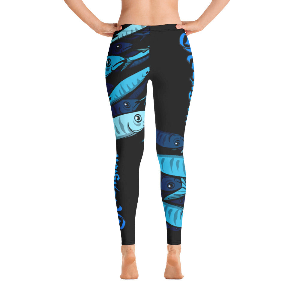 "Black Licorice ""Schools In"" Women's Fishing Leggings - Reeligion"