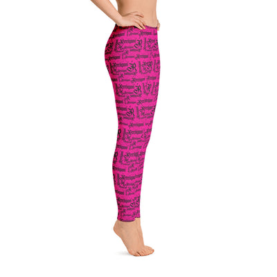 Sassy Pink Black Pattern Fishing Leggings - Reeligion