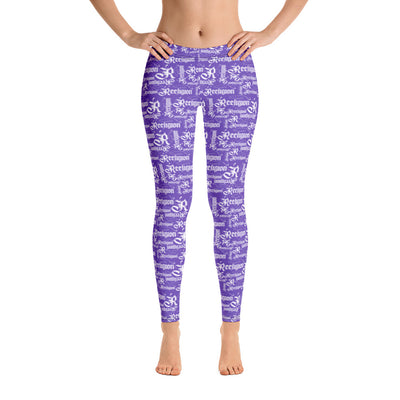 Royal Purple White Pattern Fishing Leggings - Reeligion