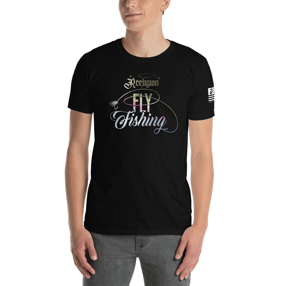 Rainbow Trout Fly Fishing Unisex Tee Black