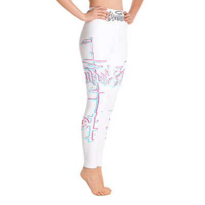 Pure White 3D Fishing Pole Hi Rise Leggings - Reeligion