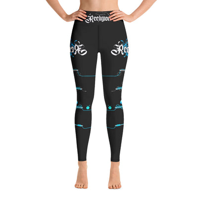 Black Licorice Learn Your Knots Hi-Rise Womens Fishing Leggings - Reeligion