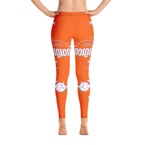 Tiger Orange 3D Fishing Rod Womens Leggings