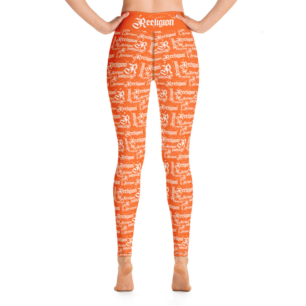 Tiger Orange White Pattern Hi Rise Leggings