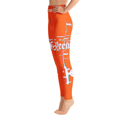 Tiger Orange 3D Fishing Pole Hi Rise Leggings - Reeligion