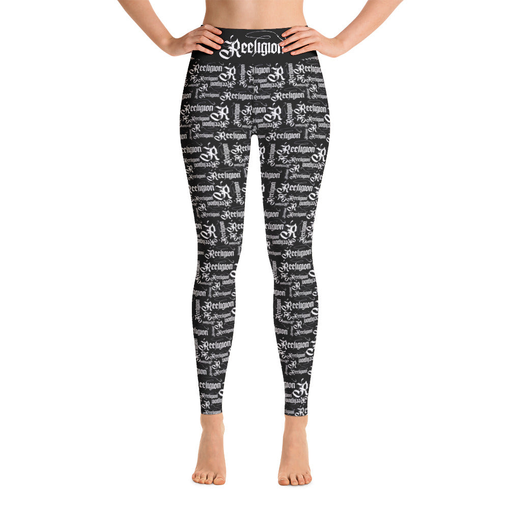 White Pattern Hi Rise Fishing Leggings - Reeligion