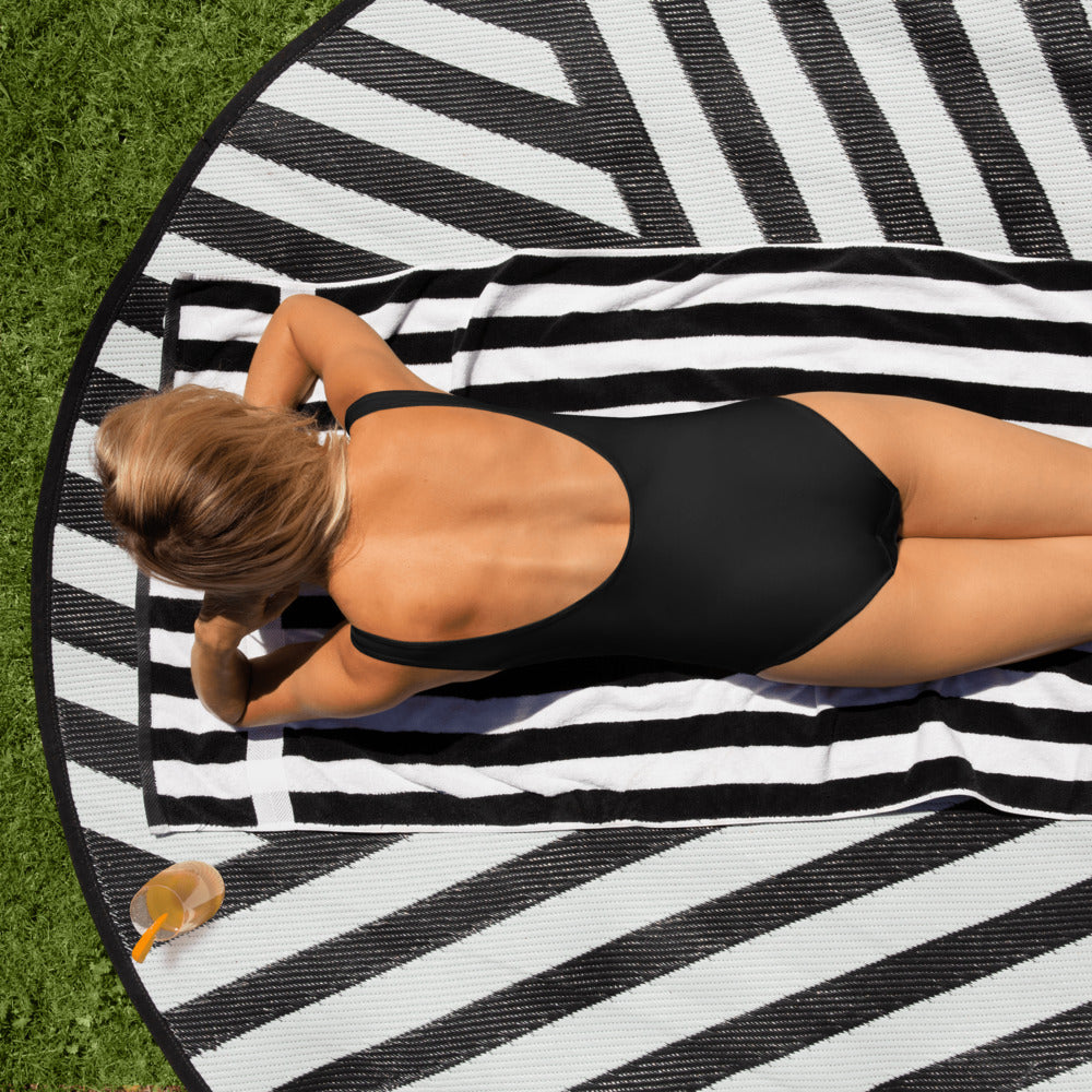 Black Licorice One-Piece Fishing Swimsuit