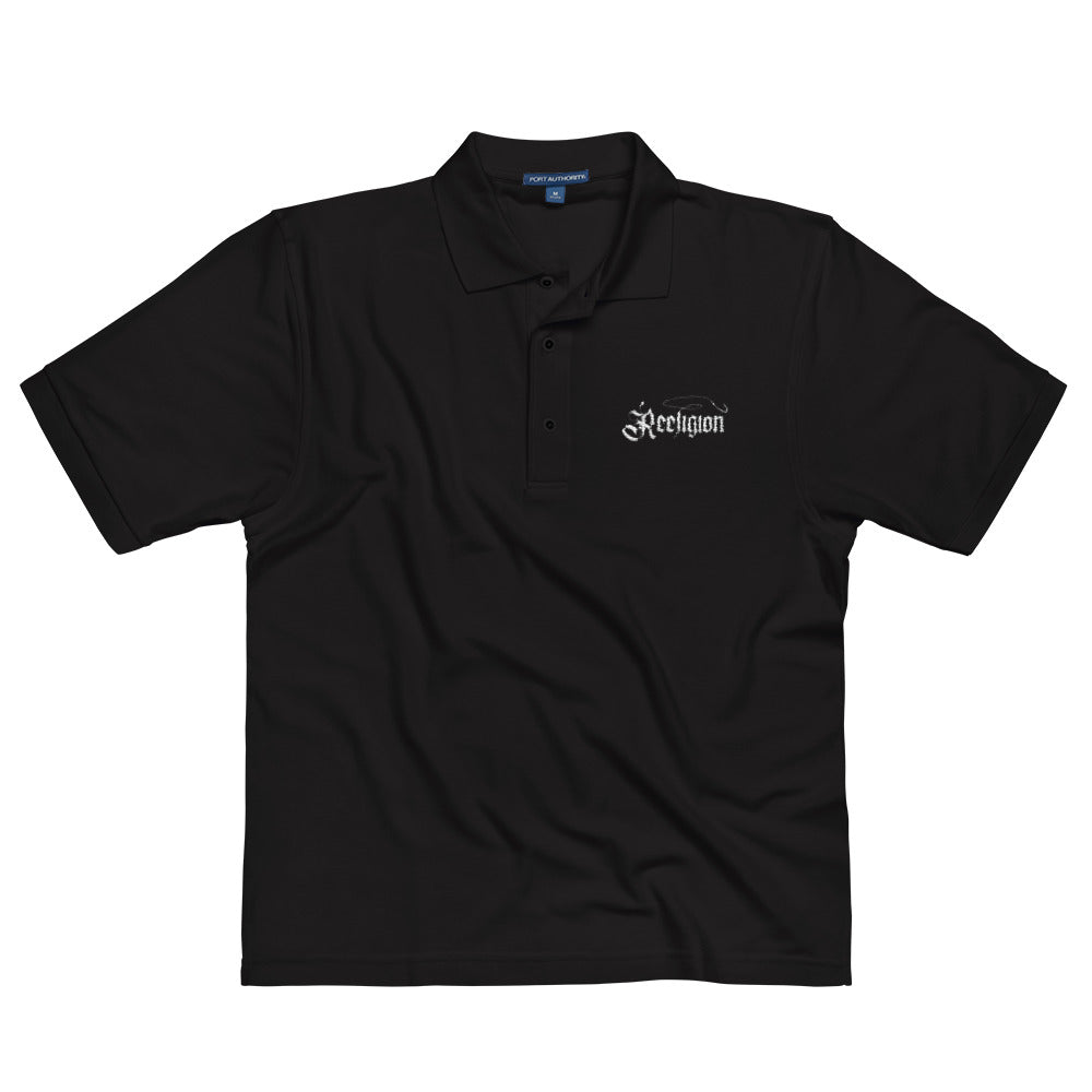 Black Embroidered Polo Fishing Shirt