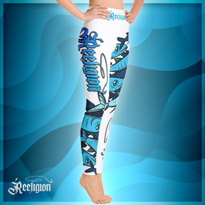 "Pure White ""Schools In"" Hi Rise Fishing Leggings - Reeligion"