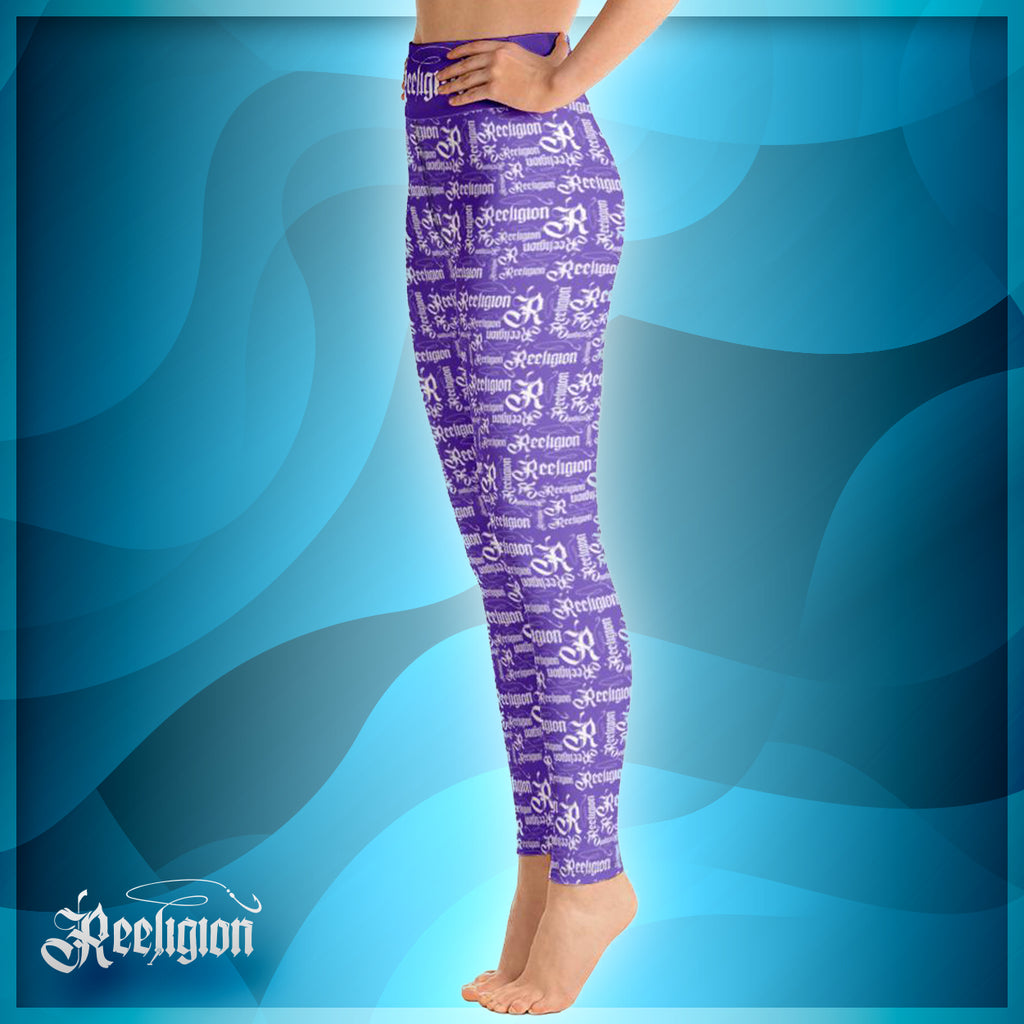 Purple White Pattern Hi Rise Fishing Leggings