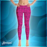 Sassy Pink Black Pattern Fishing Leggings