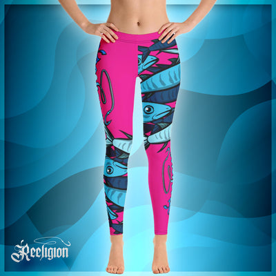 "Sassy Pink ""Schools In"" Fishing Leggings - Reeligion"