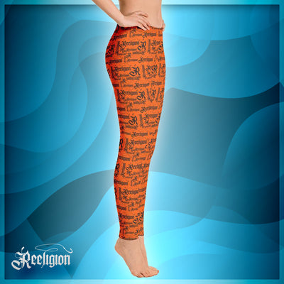 Tiger Orange Black Pattern Fishing Leggings - Reeligion