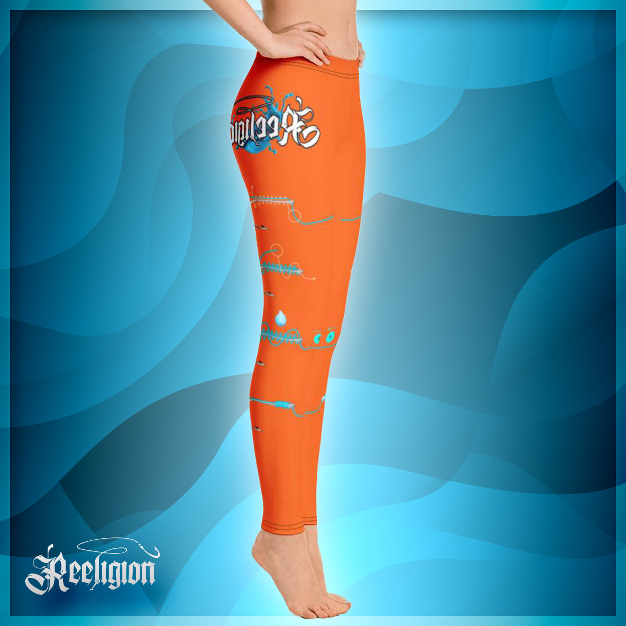 "Tiger Orange ""Learn Your Knots"" Fishing Leggings"
