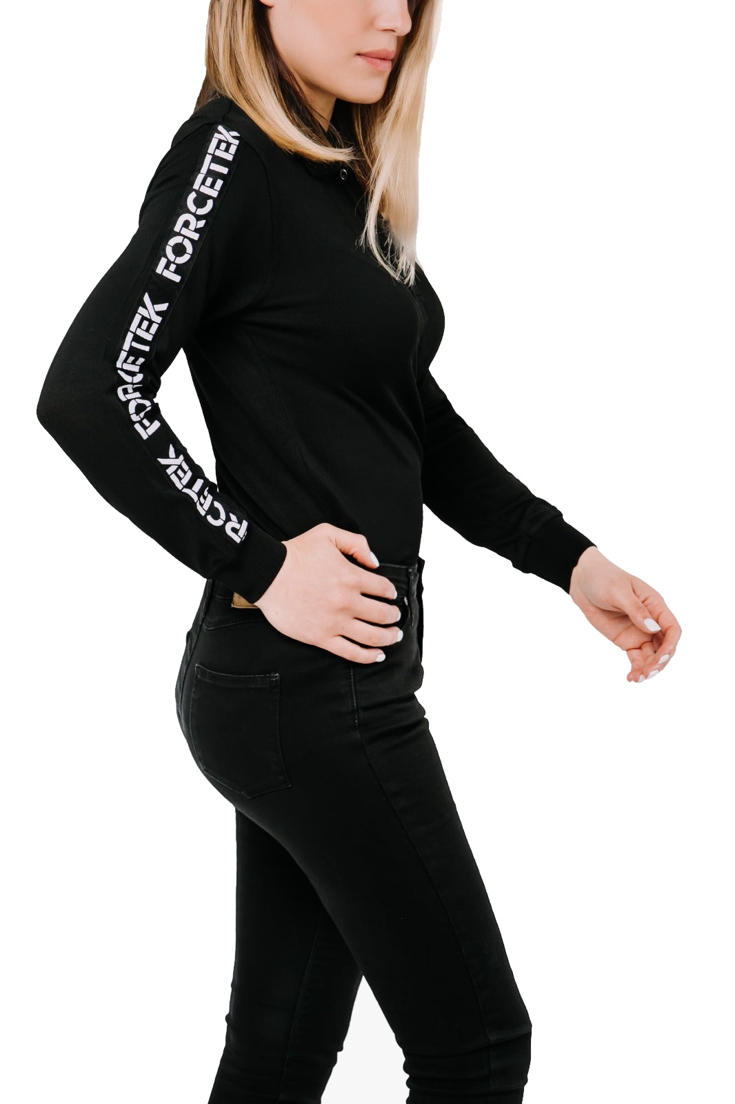 COLD SKIN LONG SLEEVE TRIMMING WOMAN POLO