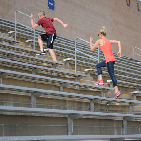 Family exercise ideas stadium stairs
