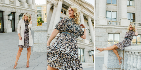 Belle Mock Neck Leopard Dress by Kensie