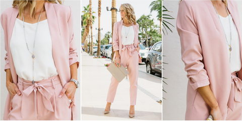 blazer, wear to work, office fashion, ruched sleeve, boyfriend blazer, blush
