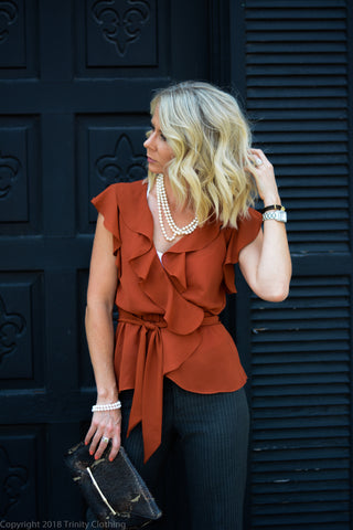 Rust Color Wrap Top with Pinstripe Slacks