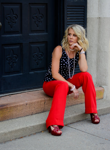 Polka Dot Blouse with Red Trousers