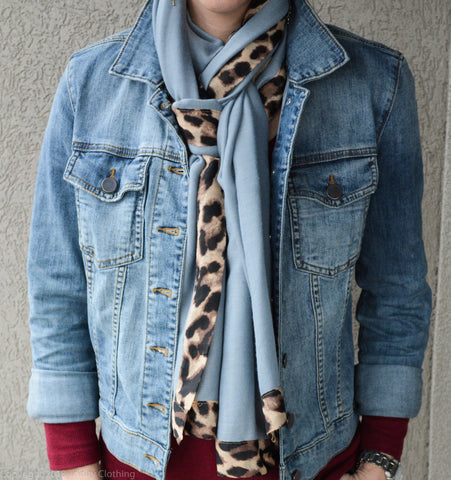 Animal Print and Steel Blue Scarf