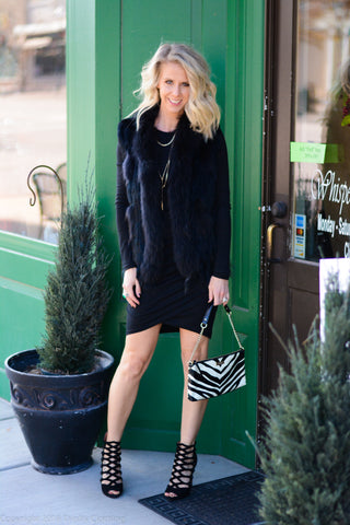 Leith Shine Minidress with BLANKNYC Faux fur