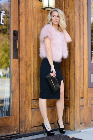 Spaghetti Strap LBD with Pink Faux Fur Jacket