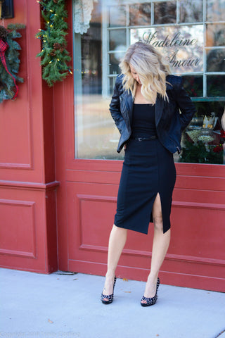 Spaghetti Strap LBD with Black Leather Moto Jacket