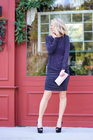 Long sleeve dress with ruched sides