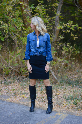 Black pencil skirt casual look