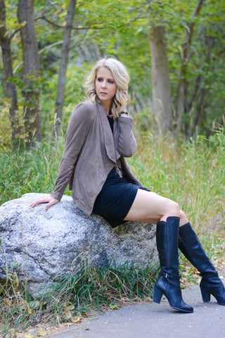 LBD with knee high boots and BB Dakota drape front jacket