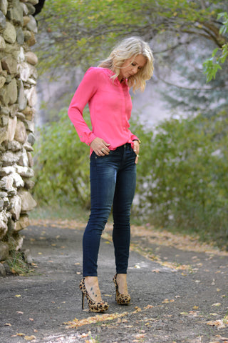 Casual Look Silk Blouse with Denim Jeans and Leopard Print Heels