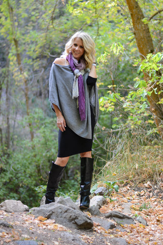 LBD and Poncho Sweater with knee high boots