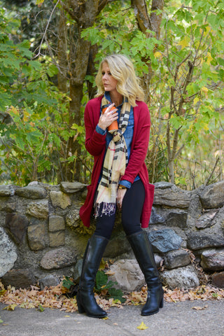 Black Leggings with Burberry Scarf and Long Cardigan