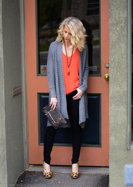 Grey Cardigan and Leopard Print Heels