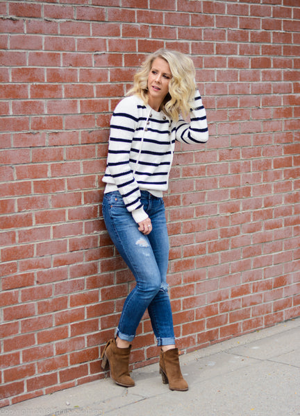 Nautical sweater with button front details