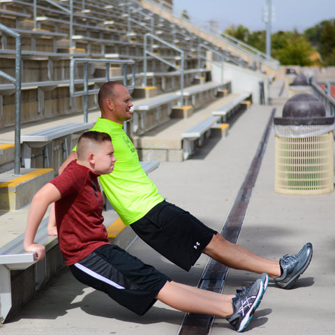 Ideas for exercising as a family tricep dips on stadium seat