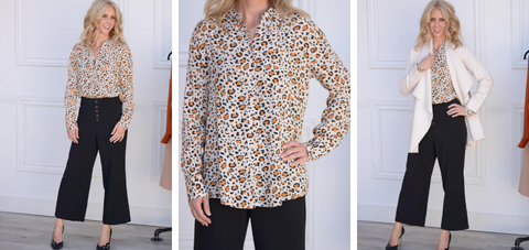 Olivine Leopard Blouse by Velvet heart