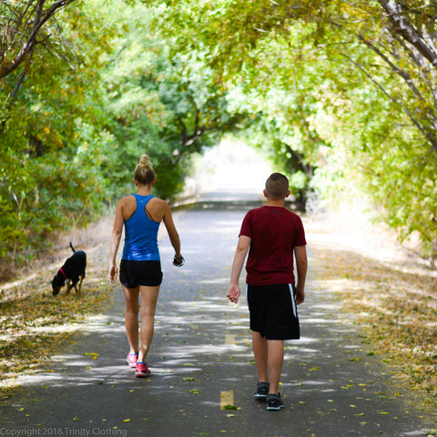 Family fitness walking path