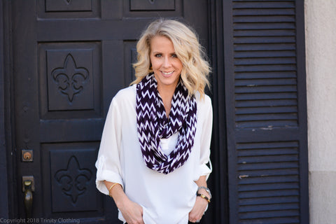 White Tunic with Herringbone Infinity Scarf